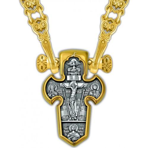 Позолоченный нательный крест «Архангел Михаил» (арт. 101.004)