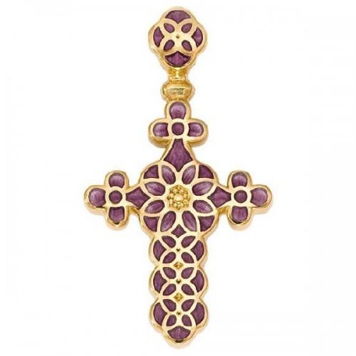 Нательный крестик с эмалью сиреневого цвета 01.031-2