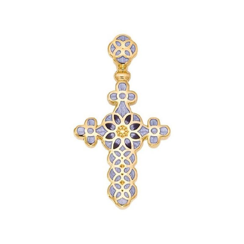 Нательный крестик украшенный цветной эмалью 01.031-3