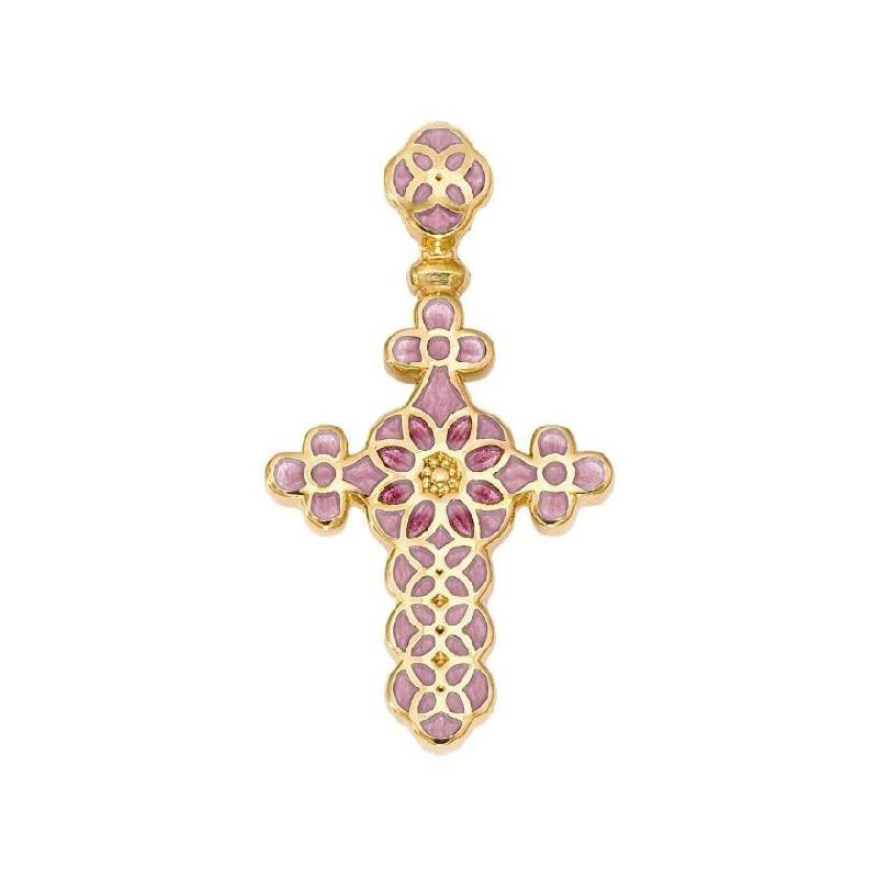 Нательный крестик с эмалью 01.031-4