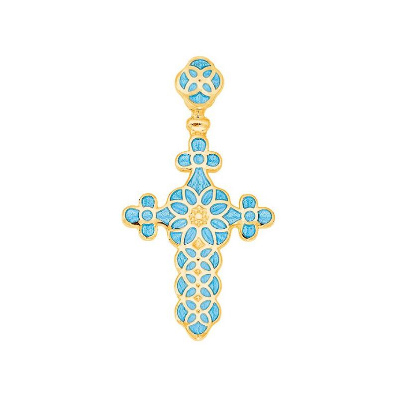 Нательный крестик с эмалью 01.031-5
