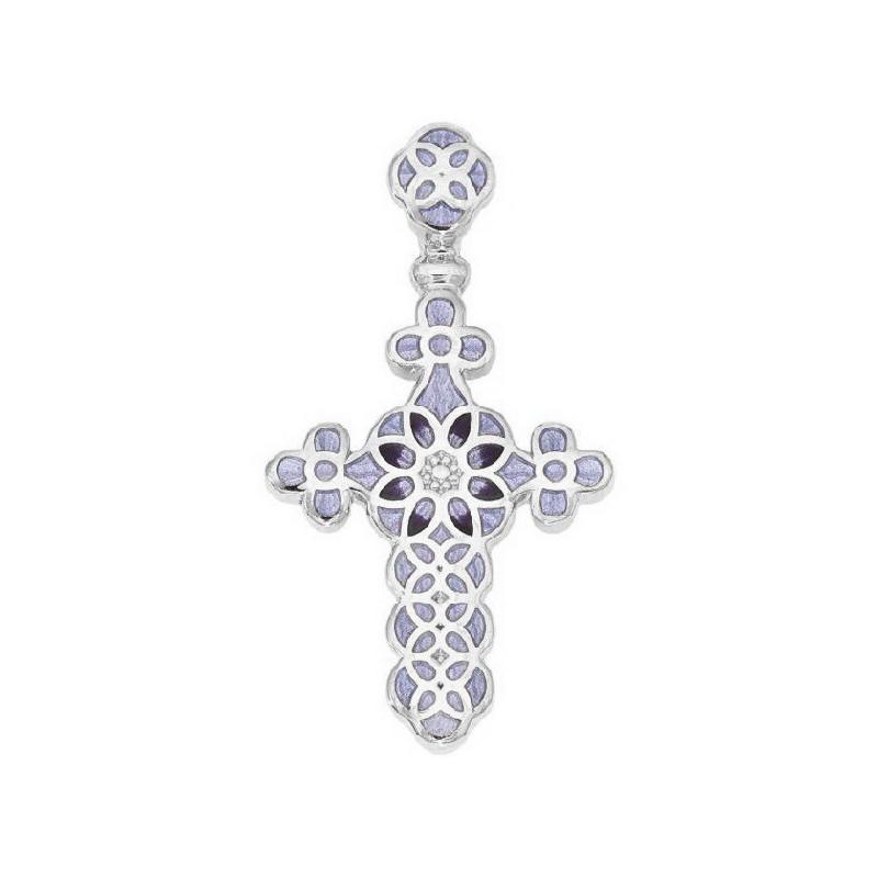 Нательный крестик с эмалью 01.031С