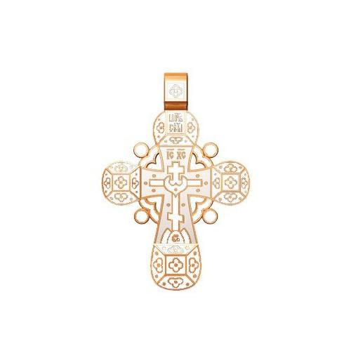 Православный крест с белой эмалью «Спаси, Господи, люди твоя» 19.002-2