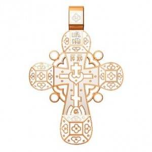 Православный крест с эмалью. Молитва «Спаси, Господи, люди твоя» 19.001-2