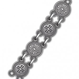 Серебряная цепь с чернением «Процветший крест» 40.772