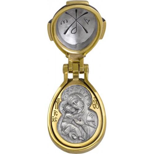 Пасхальный складень с гранатом «Богородица Владимирская, Ангел Хранитель» 578
