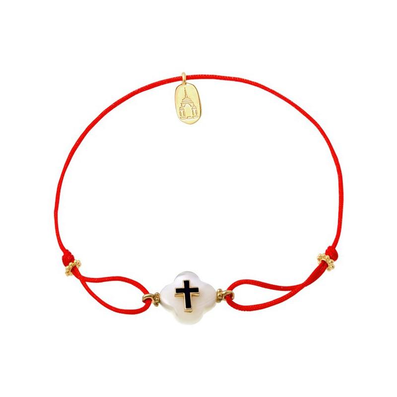 Веревочный браслет «Крест на перламутре»