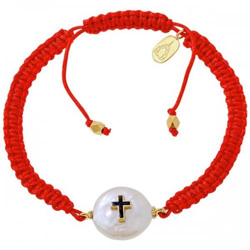 Веревочный браслет «Крестик на перламутре»