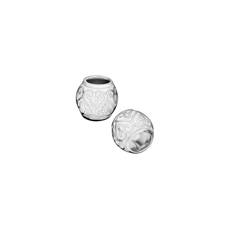Бусина с белой эмалью «Процветшие сердца» 02.203
