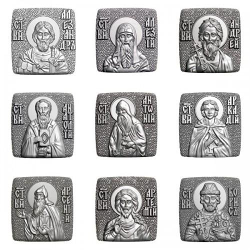 Мужской именной крест мощевик с иконой вашего святого 05А