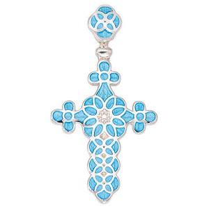 Нательный серебряный крестик с ювелирной эмалью голубого цвета