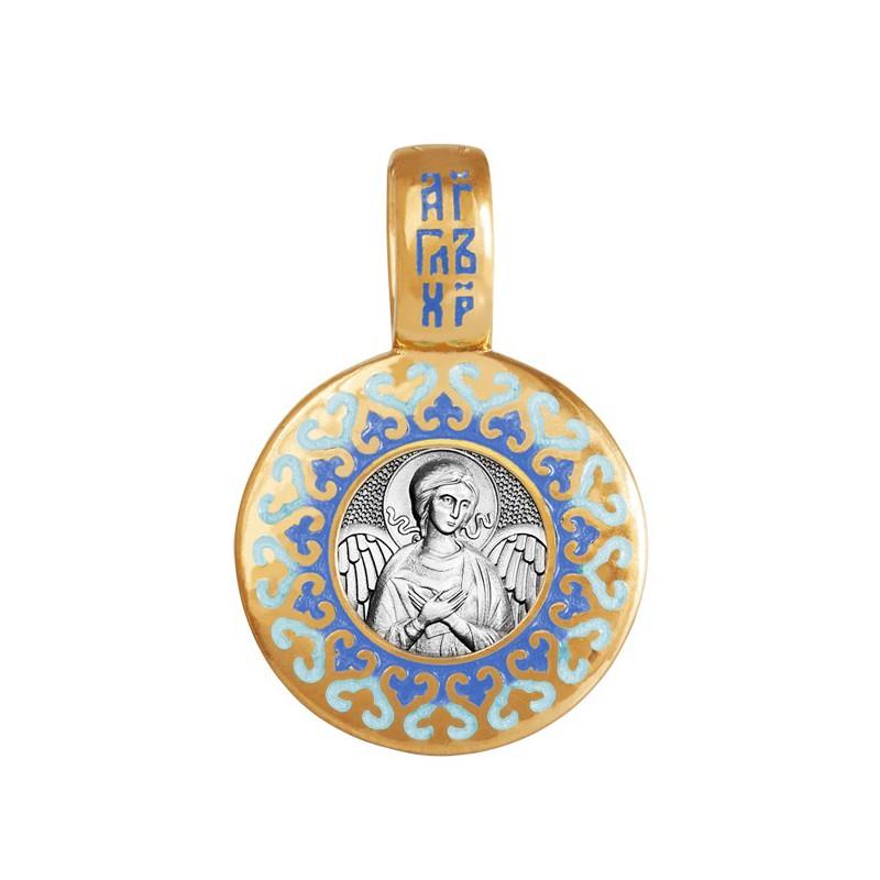 Образок «Ангел Хранитель» с эмалью синих тонов 02.012