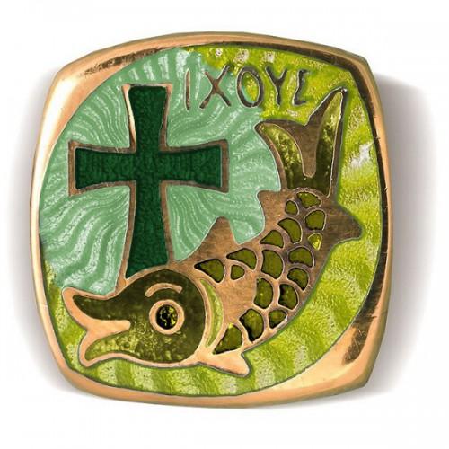 Браслет с эмалью в зеленых тонах на гайтане «IXOYE - Рыба» Б.01