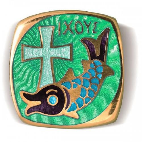 Браслет с эмалью в зелено-синих тонах «IXOYE - Рыба» Б.01