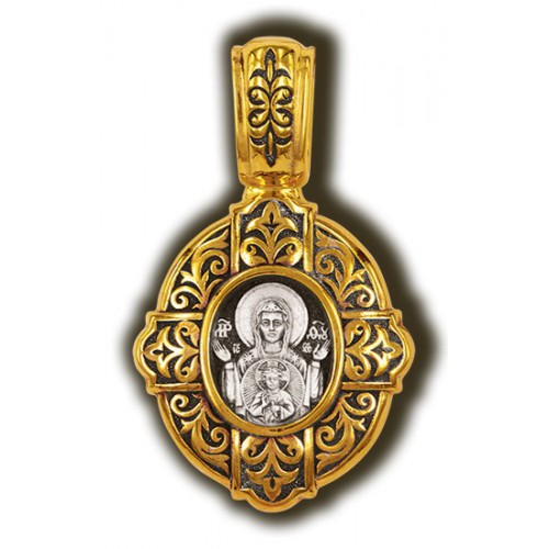 Нательная иконка из серебра. Образ Божией Матери «Знамение» Мастерская «Елизавета»