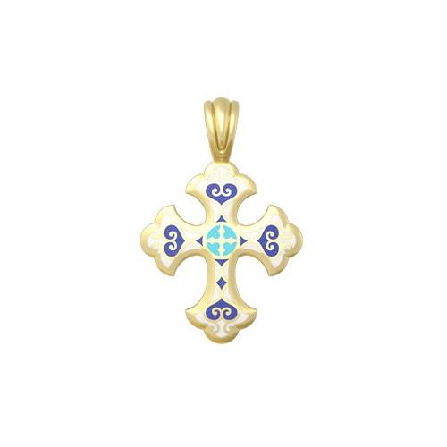 Нательный крестик с эмалью, молитва «Господи, помилуй мя...» Мастерская «Анастасия»