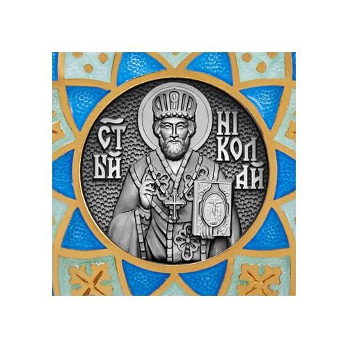 Образок «Николай Чудотворец» с эмалью синих тонов 02.021