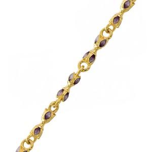 Серебряная цепь с эмалью в сиреневых тонах «Цветы» 04.086
