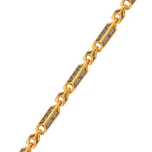 Серебряная цепочка с позолотой и православным орнаментом 130001