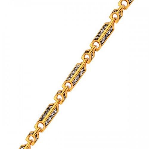 Мужская серебряная цепь с позолотой и чернением 130003