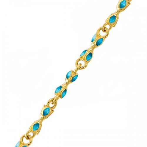 Серебряная цепь с эмалью в синих тонах «Цветы» 04.086-1