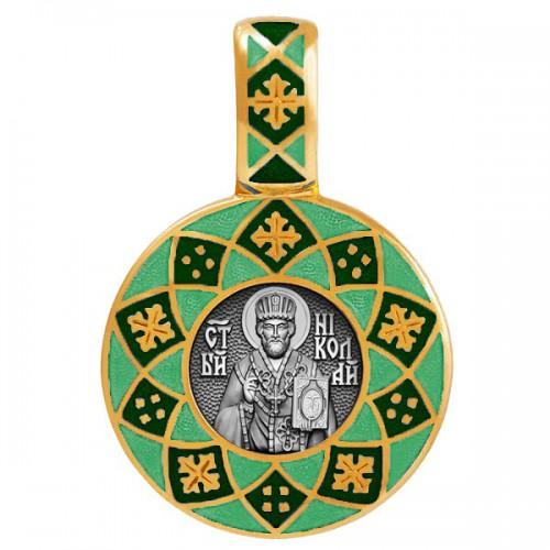 Образок «Николай Чудотворец» с эмалью зеленых тонов 02.021
