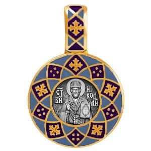 Образок «Николай Чудотворец» с эмалью темно-синего цвета 02.021