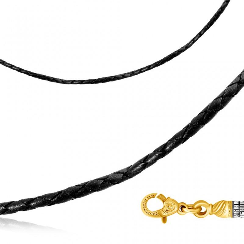 Шнурок из натуральной кожи с молитвой, плетеный вручную 9001