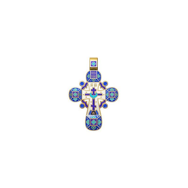 Православный крест с эмалью. Молитва «Спаси, Господи, люди твоя» 19.001-4