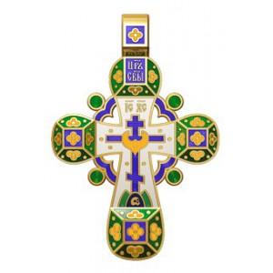Православный крест с эмалью. Молитва «Спаси, Господи, люди твоя» 19.001