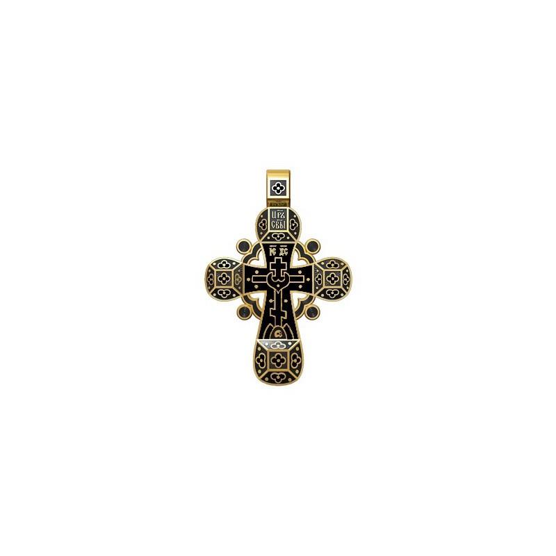 Православный крест с черной эмалью «Спаси, Господи, люди твоя» 19.002-3