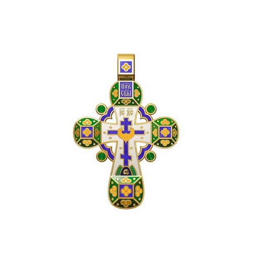 Православный крест с эмалью. Молитва «Спаси, Господи, люди твоя» 19.002