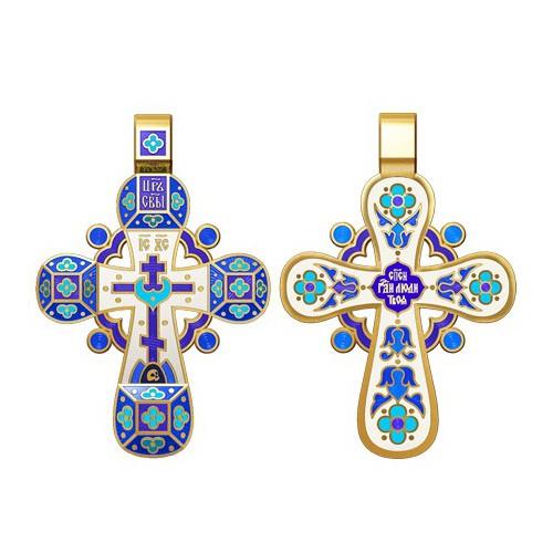 Православный крест с эмалью. Молитва «Спаси, Господи, люди твоя» 19.002-4