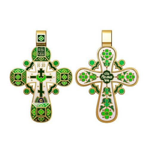 Православный крест с эмалью. Молитва «Спаси, Господи, люди твоя» 19.002-1