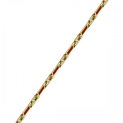 Женская серебряная цепочка с эмалью и фианитами 150001