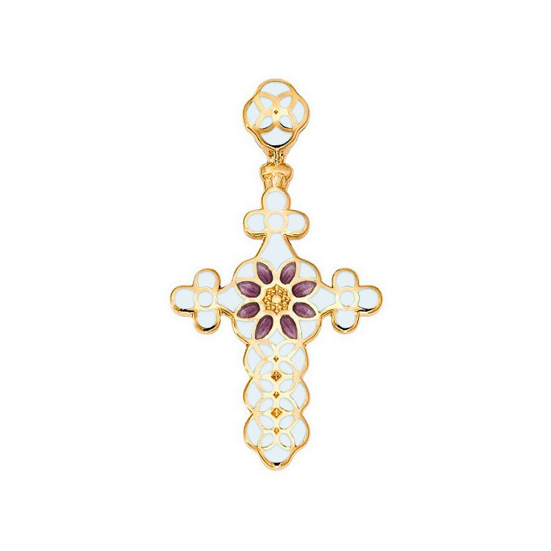 Нательный крестик с позолотой и эмалью 01.031-10