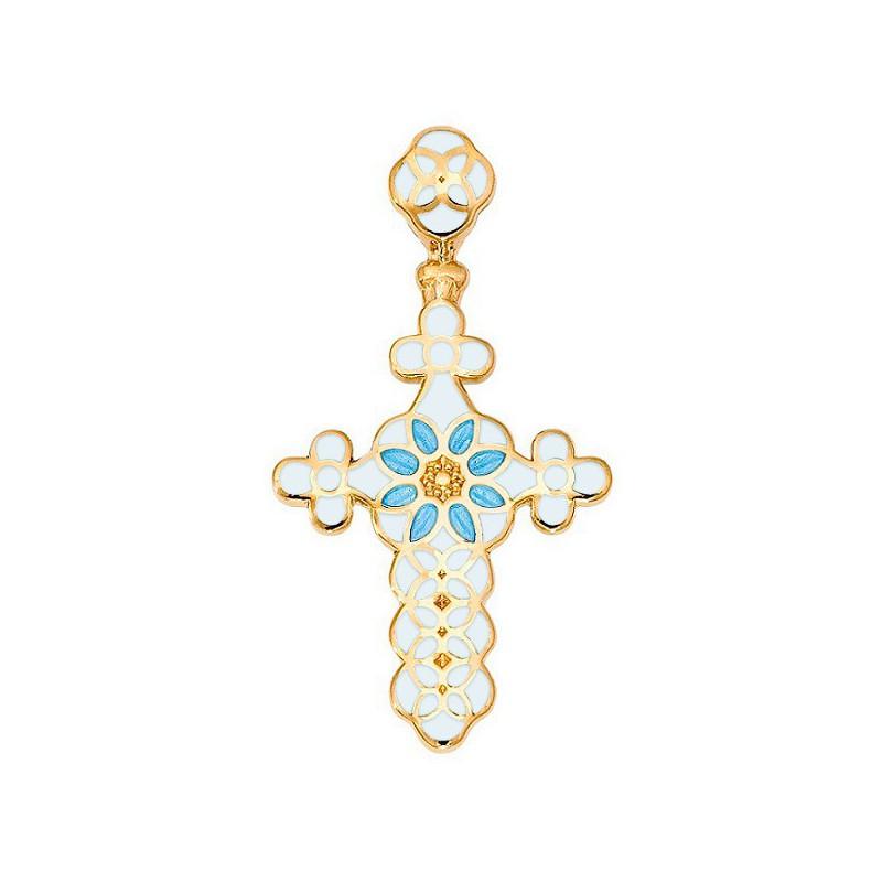 Нательный крестик с позолотой и эмалью 01.031-11
