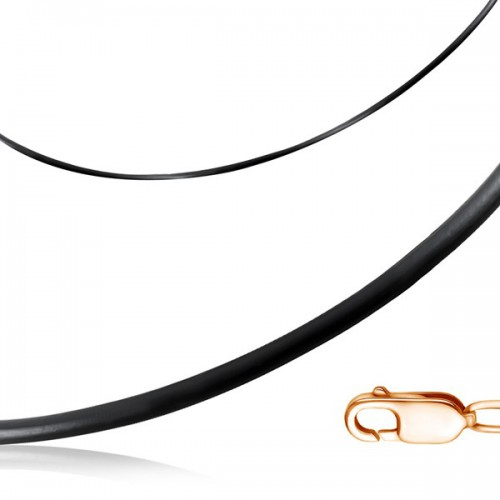 Шнурок на шею из каучука с замком из красного золота (d 3 мм)