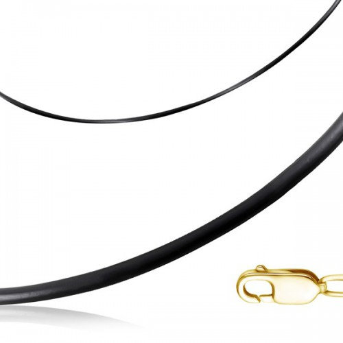 Шнурок на шею из каучука с замком из жёлтого золота (d 3 мм)