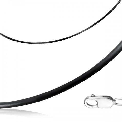 Шнурок на шею из каучука с замком из белого золота (d 3 мм)