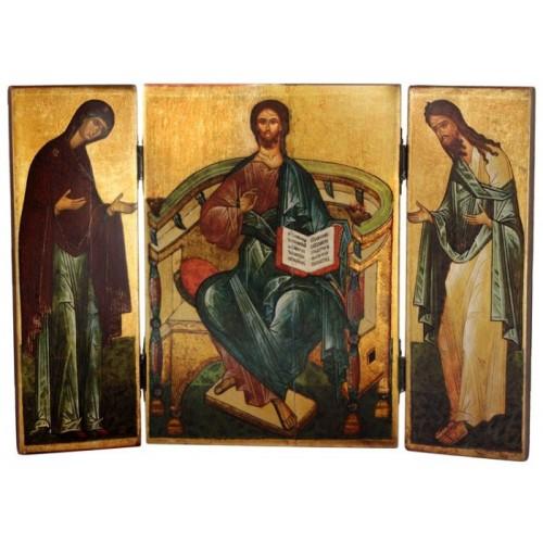 Складень (поталь) «Спаситель, Богородица, Иоанн Креститель». Копия икон 3-й четверти XV в.
