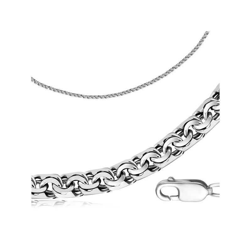Серебряная цепь с чернением ручного плетения бисмарк (4 мм)