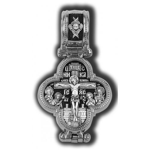 Распятие Христово с предстоящими. Барская икона Божией Матери. Нательный мощевик