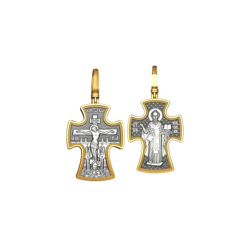 Тельный православный крест. Распятие. Святитель Николай Чудотворец 17.013