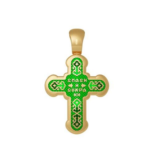 Нательный православный крест с эмалью. Лилии. Молитва «Спаси и сохрани» 19.003-2