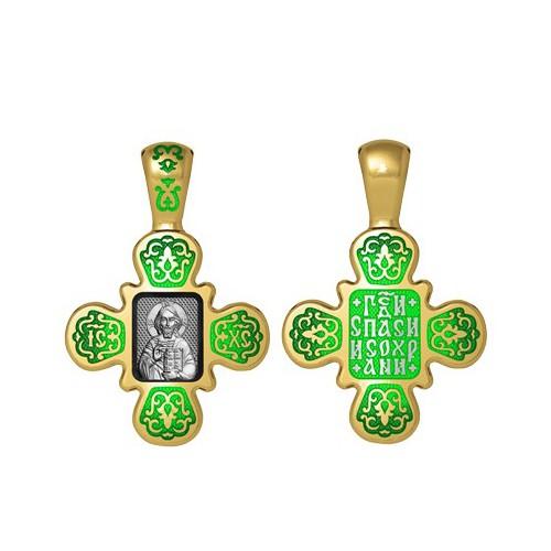 Нательный крестик с эмалью «Господь Вседержитель» 19.008-1