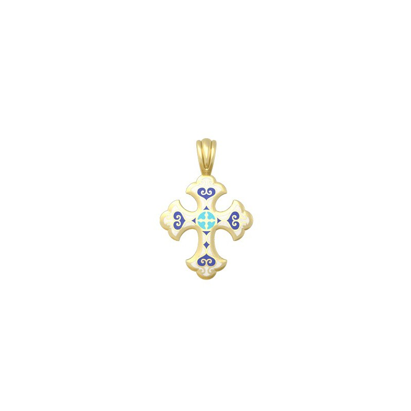 Нательный крест с эмалью «Господи, помилуй мя» 19.011-1