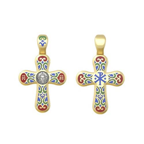 Нательный крест с эмалью «Спас Нерукотворный. Хризма» 19.013