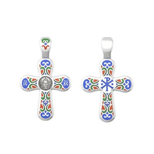 Крестик «Спас Нерукотворный» из серебра с эмалью