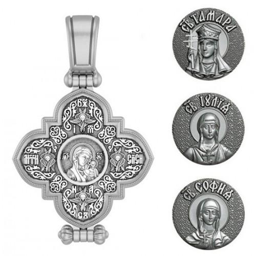 Женский именной крест мощевик с иконой вашей святой 05ВС